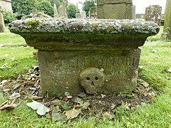 Memento Mori (Wider World) Tags: scotland lanarkshire pettinain church graveyard tomb gravestone skull sculpture lichen green alga