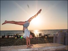 Gymnastics at the Beach 197/366 (urini) Tags: sunset beach lumix ella gymnastics 365 gx8 365project