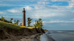 Little Sable Lighthouse (Kevin Povenz Thanks for the 2,600,000 views) Tags: 2016 july kevinpovenz westmichigan michigan oceana oceanacounty lakemichigan beach sun sunrise morning early water longexposure 10stopfilter canon7dmarkii sky shore shoreline light lighthouse lighhouse tall sunlit cliff outdoors