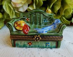 Limoges France Peint Main Porcelain Trinket Box Sofa Hat Bird ~ Artist Signed (Donna's Collectables) Tags: limoges france peint main porcelain trinket box sofa hat bird ~ artist signed