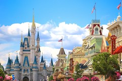 Right down the middle of Main Street USA (jordanhall81) Tags: main street usa cinderella castle cloud sky blue american flag summer sunny sun classic magic kingdom mk walt disney world wdw resort theme park amusement show live entertainment lake buena vista florida lbv orlando