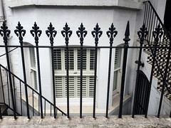 Week 30 - Black and White (Jomak1) Tags: jomak1 july 2016 black white house fence railing window blinds angles diagonalsshapes squares geometry stairs steps door grill lines arch