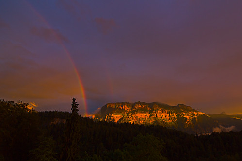 Red Rainbow over amber Mountain
