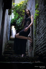 charlie_001 (Croque Petons Photo) Tags: portrait girl stairs longdress nightdress highheels laces darkhair paleskin blueeyes