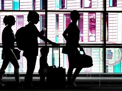 Travelers I (martina.stang) Tags: candid airport travelers traveling color silhouettes street explored inexplore