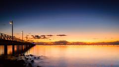 Shorncliffe Pier Sunrise (Visual Clarity Photography) Tags: 06hardgrad 2016 au august australia brisbane colorefexpro40 d4s leefilters lightroom201561 lightroomcc longexposure nikkor1424mmf28g nikond4s photoshopcc2015 qld queensland redlandcity sw150 seascape sunrise wellingtonpoint