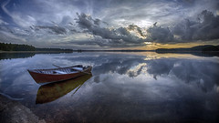 Late summer evening (Kari Siren) Tags: summer evening wooden boat lake karijarvi jaala finland samyang fisheye
