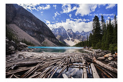 Moraine Lake, Banff National Park, (PhotoDG) Tags: morainelake banffnationalpark albertacanada alberta canada icefieldparkway rockymountains canadianrockies banff lake colour glacier glacierfed landscape moraine nationalpark wideangle