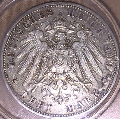 German Empire 3 Mark Coin from 1909 Showing the Imperial Coat of Arms (Gadsden1500) Tags: reichsadler dreimark germanstatecrown germanempire kingdomofprussia 3mark 3markcoin prussiancoinage gottmituns germanimperialcoins germanimperialcoatofarms prussiancoins 1909 wilhelmii kaiser wilhelm ii kaiserwilhelmii worldwari