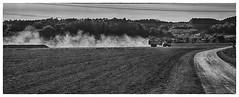 Farmland (Oliver Kuehne) Tags: woringen bayern bavaria tractor dust oktober 2016 pentaxk3 germany farmland monochrome schwarzweiss trecker framed rahmen albishofen