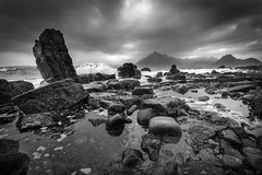 Elgol Beach (billydorichards) Tags: shoreline landscape nopeople wideangle nature water blackwhite sky travel vacation fall holiday clouds isleofskye longexposure scerene adventure scotland outside skye beautyspot scenic waterblur outdoors touristdestination wild canon1635mmf4l rocks canon6d elgol unitedkingdom gb
