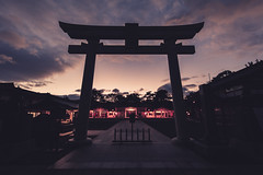 Hiroshima Gokoku Shrine (Bunaro) Tags: hiroshima gokoku shrine castle jinja chugoku japan asia honshu torii evening clouds sunset temple gate