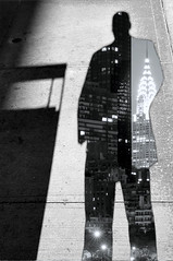 You start with a simple stock of all the waste And salt to taste (Rommel Parada) Tags: blackandwhite double exposure city sckyscraper silhouette monochrome grayscale shadow highcontrast person man sidewalk new york manhattan ny nyc midtown portrait people chrysler building artistic self selfportrait