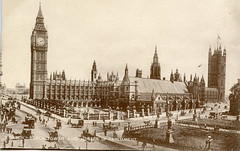 London, clock tower and Houses of Parliament (Boobook48) Tags: foundphoto postcard ww1 housesofparliament clocktower bigben uk london england 1918 thames