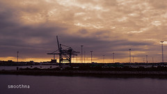 At the sunset. (smoothna) Tags: sunset sea port lumix harbour crane panasonic danmark containers fz7 smoothna