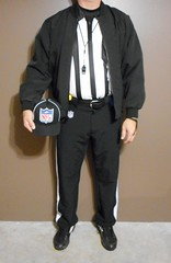 Authentic NFL officials pre-game uniform with black pinstriped cap. (Football Officials Referee Uniforms) Tags: pink blue white man black game men jock up field grass hat leather yellow socks shirt fetish bag shoe back football belt clothing athletic referee official sock shoes uniform warm long day pants flat underwear head side low nfl think sunday under stripe super bowl bean line wear clothes compression briefs cap national short judge trousers shorts superbowl monday thursday sleeve turf whistle striped league penalty pinstripe pregame umpire reebok lanyard pinstriping officials linesman