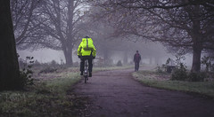 BE SEEN - HBW (Tom Insole Photography) Tags: morning travel winter cambridge white mist cold green college grass bike bicycle misty digital canon wednesday happy 50mm dawn cycling cyclists early frost day cyclist ride bokeh path walk bikes depthoffield cycle commute commuter biker chilly 50s traveling f18 dslr 50 seen rider chill boken fifty nifty hivis mistymorning beseen canon50mmf18ii cs6 niftyfifty canonphotography 50mmf18ii nifty50 canonphotographer canon40d visiability bokehwednesday happybokehwednesday cambridgephotographer