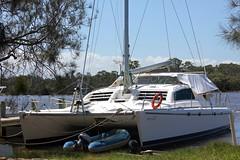 Neriki (Gillian Everett) Tags: blue march yacht almond australia catamaran queensland noosariver 2015 2colour blizzardblue mdpd2015 leopard45 neriki mdpd201503