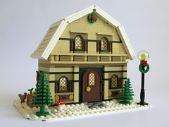 Winter Village : Barn House (kjw010) Tags: barn lego goat fawn potbellystove wintervillage eurobricks