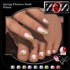 -{ZOZ}- Spring Flowers gold pix (Zoz icon) Tags: cosmopolitan mani manicure pedicure zoz pedi slink applier zozicon {zoz}