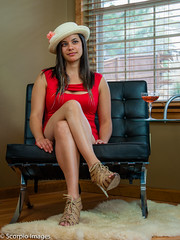 Esther S2 032. (Scorpio Images) Tags: red woman cute sexy girl beautiful hat model pretty dress photoshoot champagne young coed