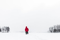 Hiking across a Frozen Lake on a Blustery and Frigid Day in Michigan (Lee Rentz) Tags: winter red usa white lake snow cold color colour ice contrast am