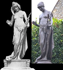 Edward Onslow Ford (1852-1901), comparison - Music (1891), vintage photo, and The Muse of Poetry (1891), Marlowe Memorial nr Marlowe Theatre, The Friars, Canterbury, UK, October 2012 (ketrin1407) Tags: sculpture music statue bronze naked nude kent poetry erotic victorian canterbury topless harp lyre sensuous marlowetheatre edwardonslowford kittymarlowe marlowememorial