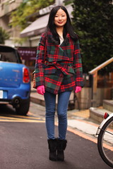 魏毅君 1 (The Style Collector) Tags: street woman girl fashion boots coat taiwan style jeans gloves taipei fashionista handbag stylish streetwear streetfashion checked streetstyle fashionstyle
