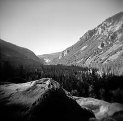 beneath the veil (Super G) Tags: blackandwhite bw mountain 120 film rock forest holga falls drought yosemitenationalpark kodaktmax400 bridalveilfall selfdeveloped 2013 d761168d1025min 20150221aug2013gerle