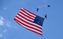 Dana Bowman's 4th of July jump, 2016, Mobridge, South Dakota (Lars Plougmann) Tags: prosthesis jump southdakota starsandstripes banner parachute mobridge unitedstates us dscf2398