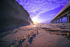 Golden sand. (REHMAT ORAKZAI) Tags: reflections longexposure clouds pink sky sunrise beach jetty water golden sand