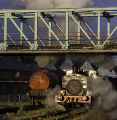 Under The Bridge. (MickyB1949) Tags: train leicestershire smoke steam locomotive preservation coalmine snibstone industrialsteam snibstoneminingmuseum
