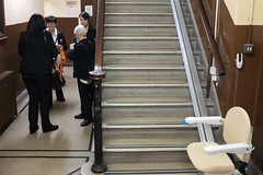Ladies (Moochin Photoman) Tags: street stairs belfast northernireland bannister stairlift ballymacarrettorangelodge