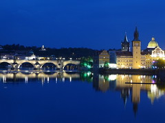 Wonderful Night Time (m_artijn) Tags: bridge blue reflection night dark prague charles hour cz moldau