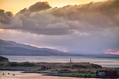 Hutcheson's Monument on the Isle of Kerrera at sunset-Neil_Alexander-05 (NeilAlexanderD) Tags: sunset sky lighthouse foothills monument water skyline island coast scotland europe moody cloudy unitedkingdom shoreline noone nobody nopeople shore coastline brooding hillside cloudcover kerrera seawater argyllandbute eileanmusdile cumuluscloud heritagetourism soundofkerrera toshore hutchesonsmonument cultureandthearts cloudtype