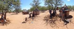 HD Panorama, Wild Dog Safari Tour Group at Otjikandero Himba Village, Kunene, Namibia (dannymfoster) Tags: africa namibia otjikandero himbavillage otjikanderohimbavillage people africanpeople himba wilddogsafari hut