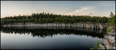 Bodberget (Jonas Thomn) Tags: panorama stone sten berg pool bassng cliffs klippor skog forest trd trees clouds moln vatten water morgon morning hdr 8x5ex spituholmen