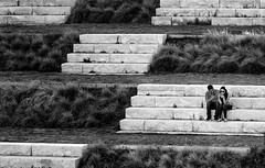 Levels (Inge Vautrin Photography) Tags: park street people blackandwhite bw white oklahoma monochrome grass stairs outside outdoors person couple steps streetphotography levels oklahomacity phones texting