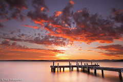 Sunset, Lake Macquarie (renatonovi1) Tags: sunset lakemacquarie lake jetty squidsink belmont water sky clouds pier centralcoast nsw australia