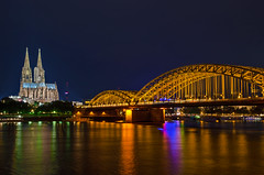 Cologne (dipphotos) Tags: germany cologne bridge water bluehour rhine rhein nightshot nightlight colognecathedral cathedral river kln
