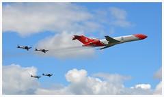 G-OSRA Boeing 727 252F with The Blades. (Ciaranchef's photography.) Tags: boeing boeing727 gosra airshow airplanes airdisplay flyingdisplay flying farnborough2016 farnboroughairshow nikon18300mmf3556gedvr nikonaviation