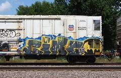 Cinco (quiet-silence) Tags: graffiti graff freight fr8 train railroad railcar art cinco aub lsd batman reefer armn unionpacific armn725131