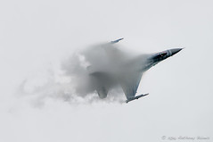 Polish F-16 almost disappears in vapour (DrAnthony88) Tags: lockheedmartinf16c modernmilitary nikkor200400f4gvrii nikond810 polishairforce raffairford tigerdemoteam aircraft airplane