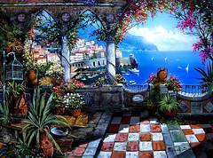 A stunning Paintings, representing the town of Positano, Italy (PhotographyPLUS) Tags: articles footage freephoto graphics illustrations images photos pictures stockimage stockphotograph stockphotos