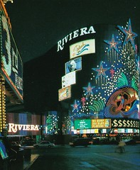 Riviera Spectacular - Las Vegas - sign design by Marge Williams of Federal Sign (hmdavid) Tags: lasvegas hotel casino sign spectacular riviera splash neon margewilliams federal nevada postcard 1990s