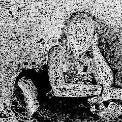woman in black (j.p.yef) Tags: peterfey jpyef yef people portrait woman young digitalart sw bw square abstract aurelia monochrome