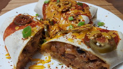 Mmm... burritos (jeffreyw) Tags: hotsauce jalapenos pickledpeppers texmex lunch dinner burritos smokedpork cheese beans