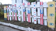 (sfrikken) Tags: county kewaunee algoma wisconsin yard fence green bay packers uncle sam picket