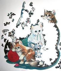 Kitten Cuddle (Ruane Manning) (Leonisha) Tags: puzzle jigsawpuzzle unfinished