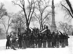 1924 Kids Gathered on Boston Common Sledding (Historicimage) Tags: boston bostoncommon bostonwinter oldbostonphoto vintageboston sledding vintagechildren